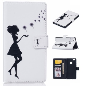 Embossed Stand Leather Case for Huawei P9 Lite/G9 Lite - Girl Playing with Dandelions