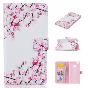 Embossment Stand Leather Wallet Case for Huawei P9 Lite/G9 Lite - Blooming Flower