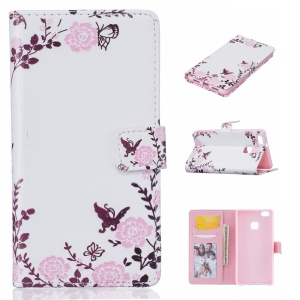 Embossed Leather Case with Stand for Huawei P9 Lite/G9 Lite - Flowers and Butterflies