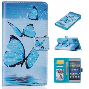 Embossed Wallet Stand Leather Folio Case for Huawei Ascend P8 Lite - Blue Butterfly