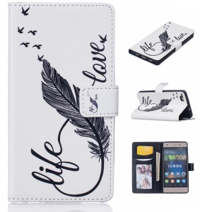 Embossed Folio Leather Wallet Stand Cover for Huawei Ascend P8 Lite - Life Feather Love