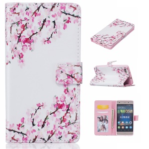 Diary Style Embossed Wallet Stand Leather Shell for Huawei Ascend P8 Lite - Cherry Blossoms