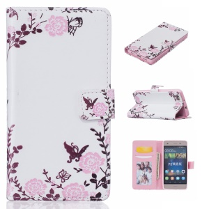 Patterned Embossed Wallet Stand Leather Folio Case for Huawei Ascend P8 Lite - Pretty Flowers and Butterflies
