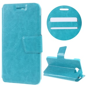 Crazy Horse Texture Stand Leather Card Holder Case for Huawei Honor 5 - Blue