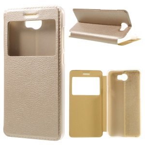 View Window Stand Leather Case Protector for Huawei Y5II/Y5 II - Gold