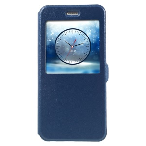 Sand-like Texture Stand View Smart Leather Flip Case for Huawei Honor 8 - Blue