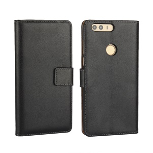 Genuine Split Leather Wallet Stand Case para Huawei Honra 8 - negro