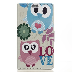 PU Leather Card Holder Case with Stand for Huawei Y6II Compact - Cute Owl and LOVE Pattern