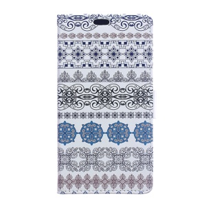 Faux Leather Wallet Stand Cover for Huawei Y6II Compact - Tribal Flowers
