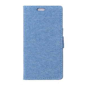 Linen Texture Wallet Stand Leather Cover for Huawei Y6II Compact - Baby Blue