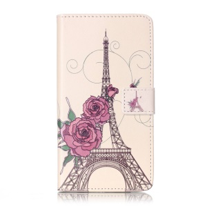 Embossed Leather Wallet Cover for Huawei Y6II - Flowers and Eiffel Tower