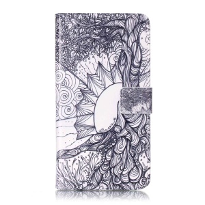 Embossed Magnetic Leather Wallet Case for Huawei Y6II / Honor 5A - Flowers Pattern