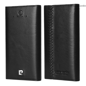 PIERRE CARDIN PCQ-E18 Genuine Wax Leather 6000mAh Dual USB Power Bank for iPhone Samsung - Black
