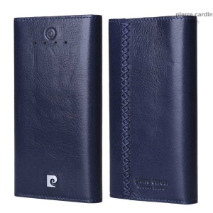 PIERRE CARDIN PCQ-E18 6000mAh Dual USB Genuine Wax Leather External Power Bank for iPhone Samsung - Dark Blue