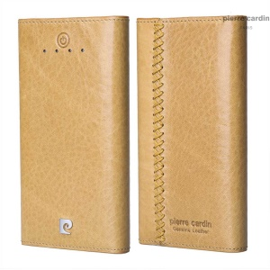PIERRE CARDIN PCQ-E18 Genuine Wax Leather 6000mAh Dual USB External Battery Power Bank for iPhone Samsung - Brown