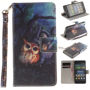 Leather Wallet Stand Case for Huawei Ascend P8 Lite with Wrist Strap - Two Owls on Branch
