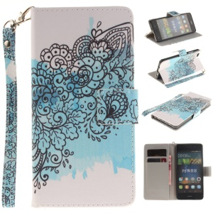 Leather Wallet Stand Cover for Huawei Ascend P8 Lite - Abstract Flower