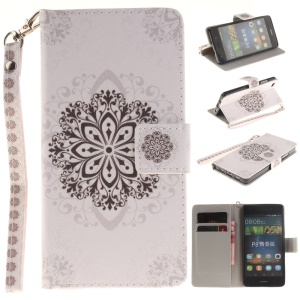 Wallet Stand Leather Shell for Huawei Ascend P8 Lite - Stencil Pattern