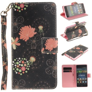 Leather Phone Case with Stand for Huawei Ascend P8 Lite - Pretty Flowers