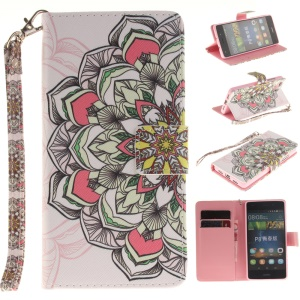 For Huawei Ascend P8 Lite PU Leather Flip Case with Wrist Strap - Colored Henna Flower
