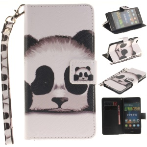 For Huawei Ascend P8 Lite Wallet Leather Phone Case with Wrist Strap - Panda