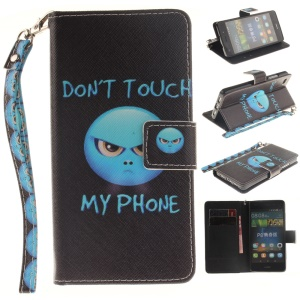 Leather Phone Cover for Huawei Ascend P8 Lite with Card Slots - Angry Face