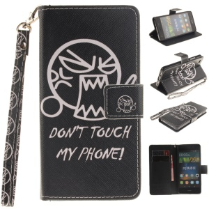 Wallet Stand Leather Cover for Huawei Ascend P8 Lite with Wrist Strap - Shouting Face
