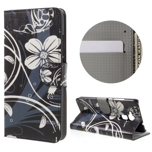 Wallet Leather Stand Case for Huawei Honor 5C / GT3 - White Flowers