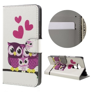 Leather Stand Case with Card Slots for Huawei Honor 5C / GT3 - Hearts and Owls