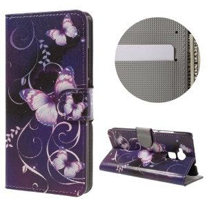 For Huawei Honor 5C / GT3 Wallet Leather Stand Case  - Purple Butterflies