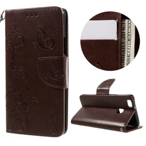 For Huawei P9 Lite / G9 Lite Imprint Flower PU Leather Stand Case with Wrist Strap - Brown