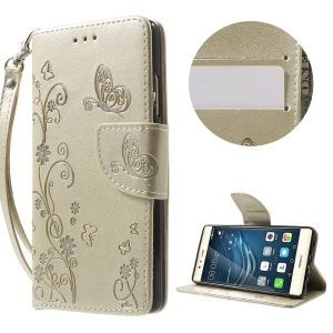 Imprint Flower Wallet Leather Shell with Lanyard for Huawei P9 - Champagne