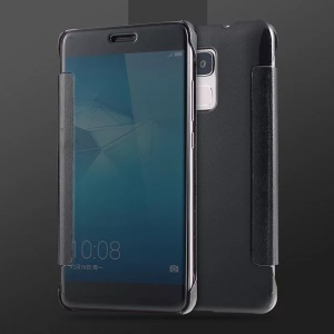 PC Electroplating Mirror Surface Leather Cover for Huawei Honor 5C / GT3 - Black