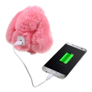 CE FCC Rex Rabbit Keychain Mobile Battery Charger 10000mAh for iPhone Samsung Etc - Pink