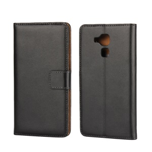 Genuine Split Leather Stand Wallet Case for Huawei Honor 5C / GT3 - Black