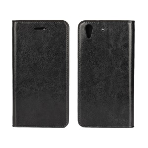 Crazy Horse Genuine Leather Wallet Cover for Huawei Y6II / Honor 5A - Black