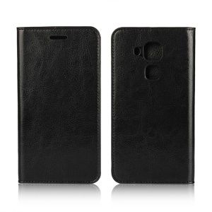 Crazy Horse Genuine Leather Wallet Case for Huawei nova plus/ G9 Plus/ Maimang 5 - Black
