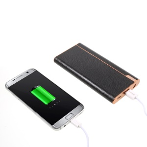 VDELI 10000mAh QC 2.0 Power Bank with 2 Inputs + Type-C Input/Output for iPhone Samsung Sony - Black