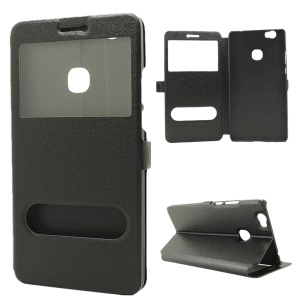 Silk Texture Dual Windows Stand Leather Cover for Huawei Honor Note 8 - Black