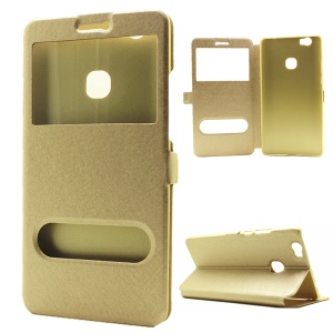 For Huawei Honor Note 8 Silk Texture Dual Windows Stand Leather Cover - Gold