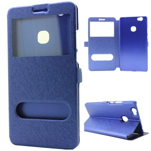Dual Windows Silk Texture Stand Leather Case for Huawei Honor Note 8 - Blue