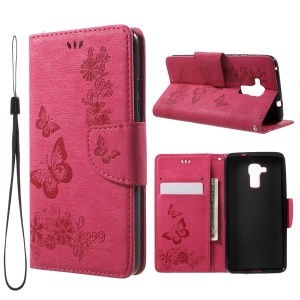 Floral Butterfly Magnetic Flip Leather Wallet Case for Huawei Honor 5c / GT3 - Rose