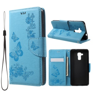 Imprint Floral Butterfly Leather Stand Card Slot Cover for Huawei Honor 5c / GT3 - Blue
