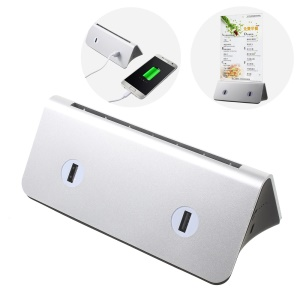 10000mAh Desktop 4 USB Outputs Power Bank with 2 Inputs for iPhone Samsung Huawei Etc. - Silver