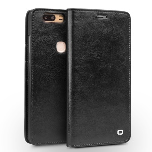 QIALINO Genuine Cowhide Leather Cover for Huawei Honor V8 - Black