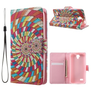 Pattern Printing Wallet Magnetic Leather Stand Cover for  Huawei Y5 Y560 - Colored Circles