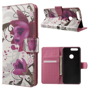 Patterned Leather Wallet Protection Case for Huawei Honor 8 - Kapok Flowers