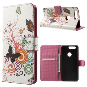 Wallet Stand Leather Patterned Cover for Huawei Honor 8 - Butterflies and Circles
