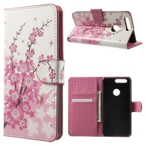 Patterned PU Leather Case Cover for Huawei Honor 8 - Plum Blossom