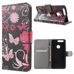 Patterned Leather Flip Case Wallet Cover for Huawei Honor 8 - Retro Union Jack